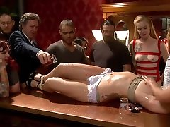 Tied slut is gangbang bdsm public fucked