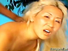 Asian blond slut sucking black cock part3