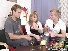 Cocksucking mom is riding cock