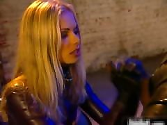 Blonde wears latex and enjoys anal