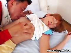 Hot asian redhead sucking cock with her part1