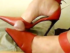 Western Woman in High Red Heels hates and ballbusts Small Asian Paki Penis