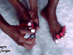 milla blaze lesbian cfnm party with White Toe Nail Painting