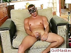 Amazing masked hunk jerking off cock part2