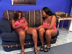 Lesbian scene with first time open vagina bleedind ebonies licking twat