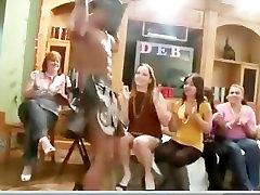 Bride amateur sucks black CFNM stripper cock at bachelorette party