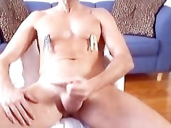Gushing cum, clothespins clamping tits
