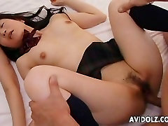 Two Asian hottie fucked aside each other