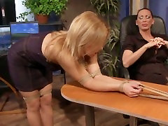 LEZDOM domina makes sub boot worship then spanks her