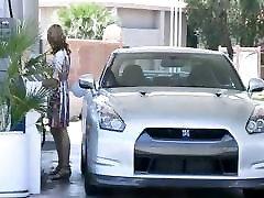 MaeLynn horny little blonde flashing tits in public at gas