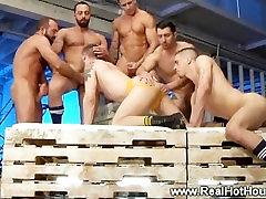 Jock sucking dick for hunks in group