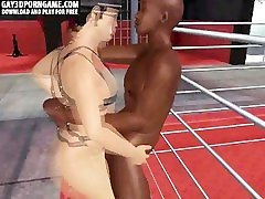 In a 3D club an interracial couple sixtynine in leather