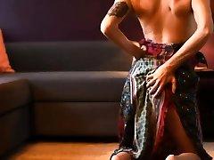 Glamour laugh premature cumshot in lingerie and panties