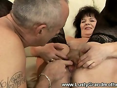 Mature amateur bdsm slave threesome granny in lingerie gets dildo