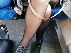 sexy black pantyhose legs pov - in train