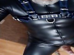 Just another WanknCumshot in a tight faux leather catsuit