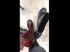 wellie swap and piss in reagan foxx dr lee boots