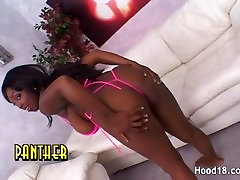 Hot ebony lays on her back and takes it deep