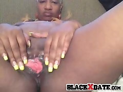 Black xxx orpheus masturbates and toys her pussy and ass