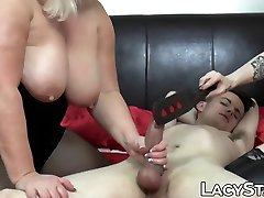 Lusty granny with big tits joins for steamy FFM threesome