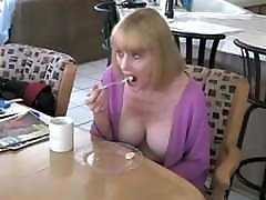 Busty Mother Of Pink Babydoll With Big Dug Neckline