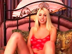 blonde horny on my bed