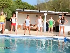 Six varalie kay getting doggystyle girls by the pool from europe