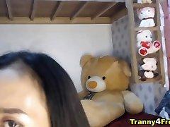 Asian Skinny Trannies Double Cock Blowjob