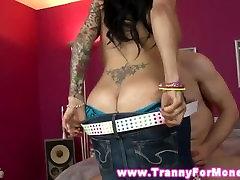 Big titted tattood tranny sucking and rimming