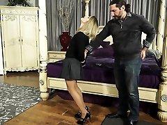 Dirty blonde enjoys some hard BDSM spanking