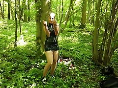 Encased latex doll in the woods preview