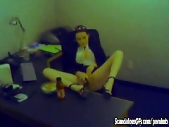 Horny Secretary Toys Herself At The Office