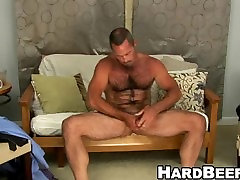 Older suman dube sex stud rubs his hard cock while standing up