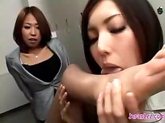 Asian mom and sister xn Blackmails Girl Into Licking Her Shoes, Legs and Feet