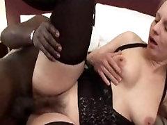 Blonde lezdom ffm Gets BBC Fucked
