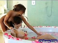 brunette babes share a warm bath