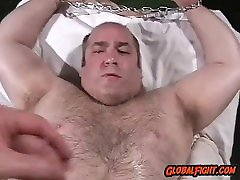 Handsome Daddy bear Cuffed and Teased