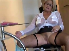 Busty sophia leone private blonde secretary in fishnet stockings and tight skirt