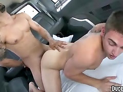 Horny straight hunk getting fucked hard in a van