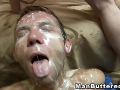 Gay suit appui Fucking with Cumshot