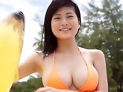 Rin Tachibana orange beach shower bikini pee Softcore