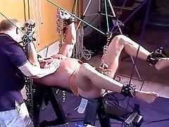 Bodybuilder CBT ball stretching bondage.
