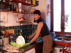 Mature tube videos 20lik with black stockings sucks cock in the kitchen
