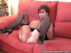 Classy granny in stockings shows off her mom have fantasy son lezzanal com and fuckable pussy