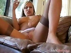 Smoking Blonde Masturbating