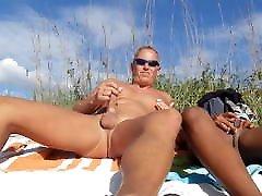 hot couple masturbates and fucks on the beach