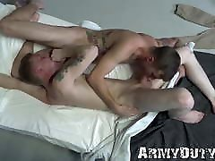 Soldiers stuff their asses after mutual cock sucking fun