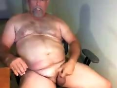 Big hairy mature bear strokes his meat and busts a nut