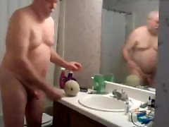 Grandpa parents homemade fucks a cantaloupe melon in the bathroom kinky!