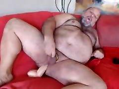 Chubby cuck denial rides dildo and cums on cam